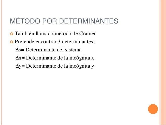 Resolución de un sistema de ecuaciones por determinantes Slide 2