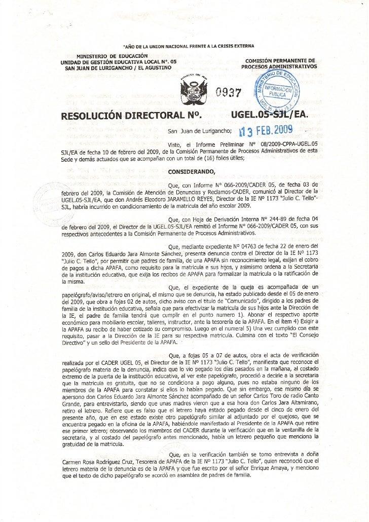 ResolucióN Directoral 0937   2009   Ugel 05