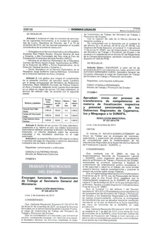 539138  ' ' NORMAS LEGALES  ElPeruan Mieroolesíideúaerthredemll  SE RESUELVE:   Articulo 1. Autorizar el viaie.  en comisi...