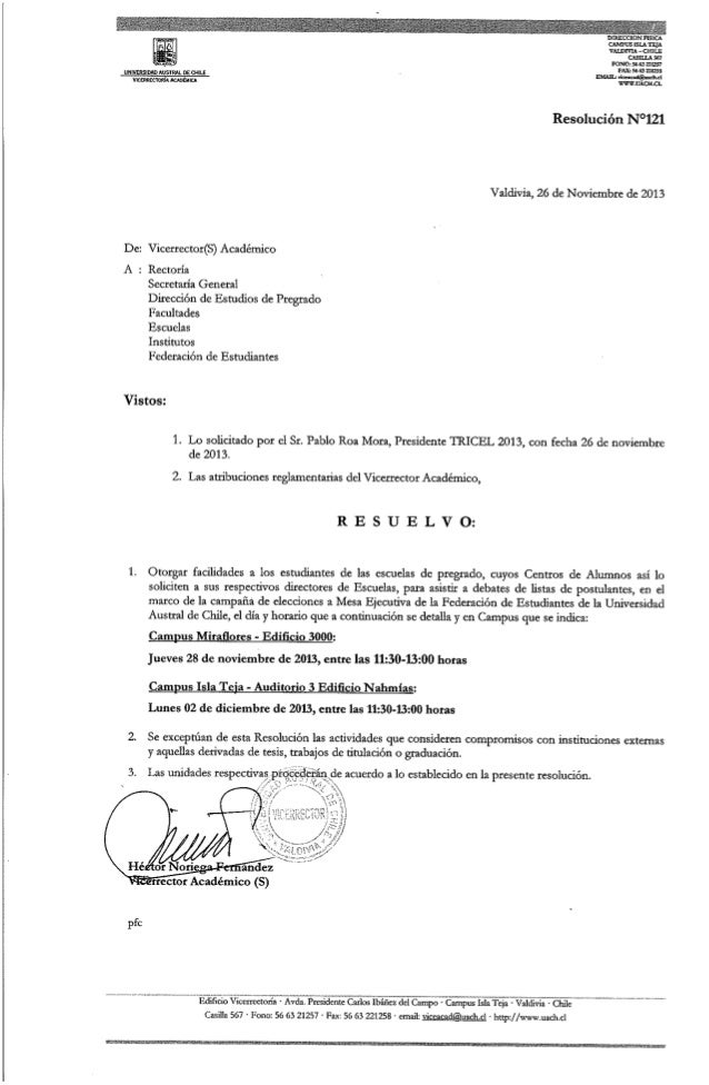 Resolución nº121 facilidades estudiantes asistencia a debates (26 noviembre)