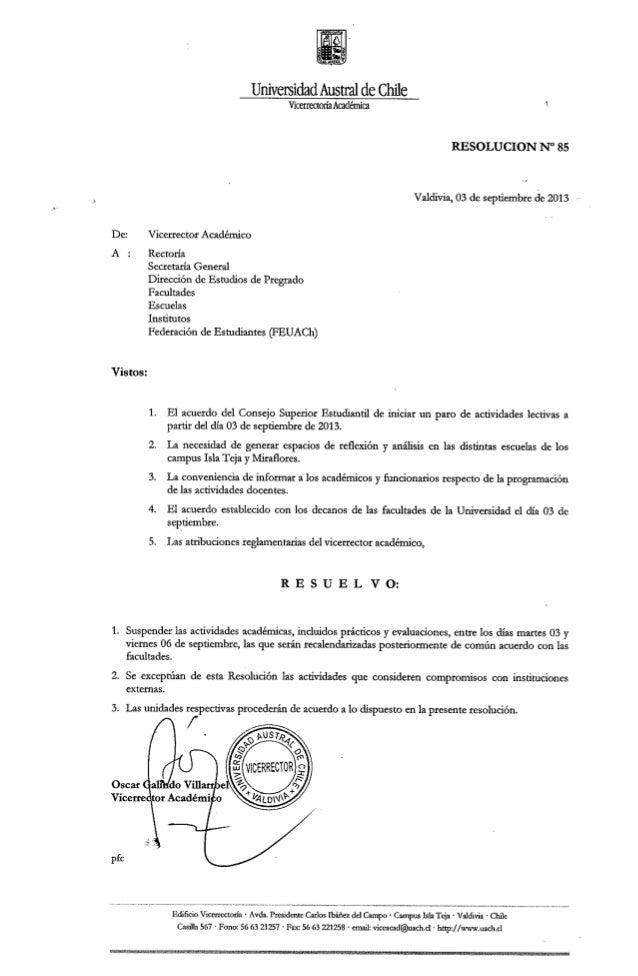 Resolución Nº85 de Vicerectoría Académica que suspende actividades académicas desde el 03 al 06 septiembre.