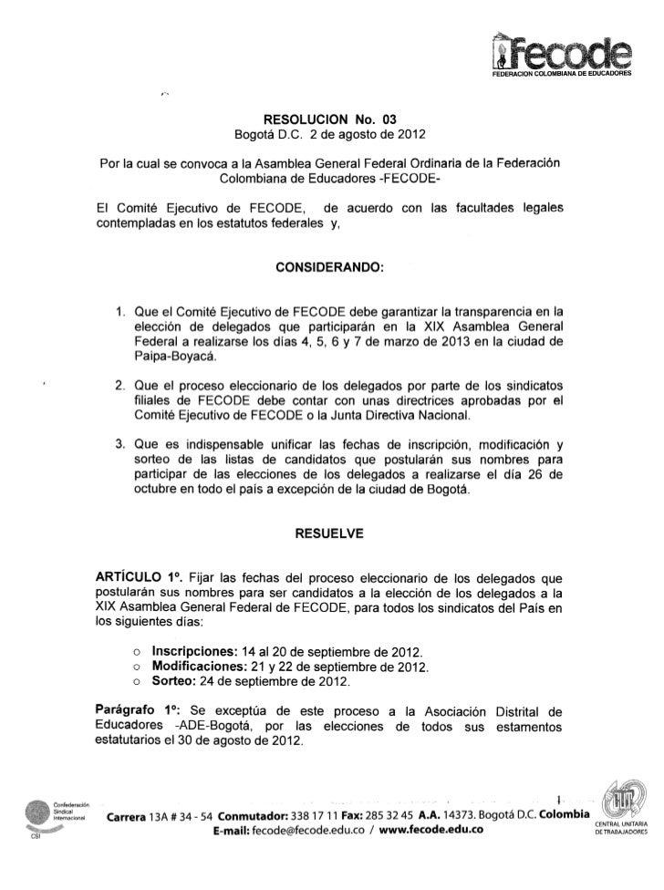 FEDERACION COLOMBIANA DE EDUCADORES                                                   RESOLUCION No. 03                   ...
