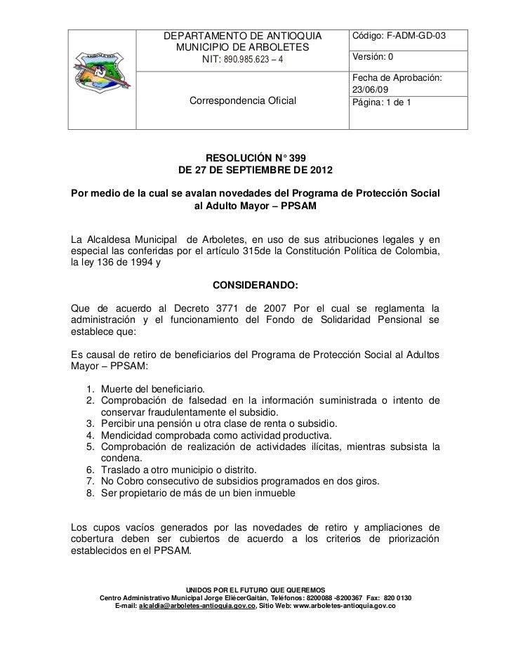 DEPARTAMENTO DE ANTIOQUIA                                Código: F-ADM-GD-03                           MUNICIPIO DE ARBOLE...