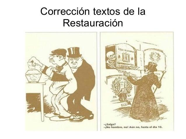 Corrección textos de la Restauración