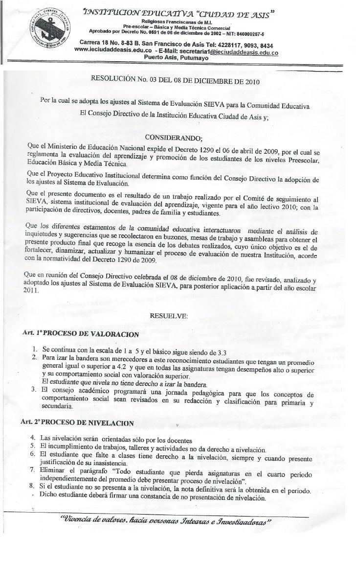 Resolucion No. 03 8 de diciembre 2010