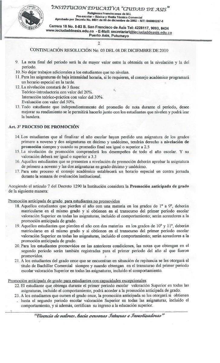 Resolucion No. 03 8 de diciembre 2010 Slide 2