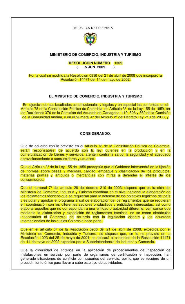 REPÚBLICA DE COLOMBIA                  MINISTERIO DE COMERCIO, INDUSTRIA Y TURISMO                              RESOLUCIÓN...