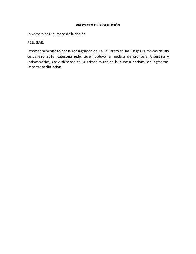 PROYECTO DE RESOLUCIÓN La Cámara de Diputados de la Nación RESUELVE: Expresar beneplácito por la consagración de Paula Par...