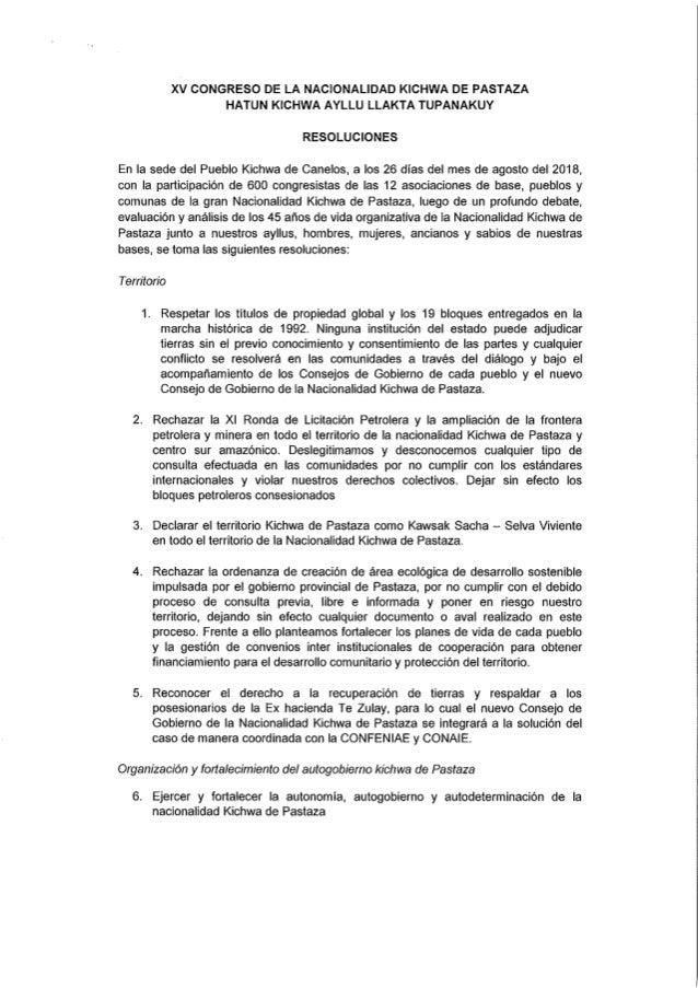 Resolucion de los Kichwas de Pastaza
