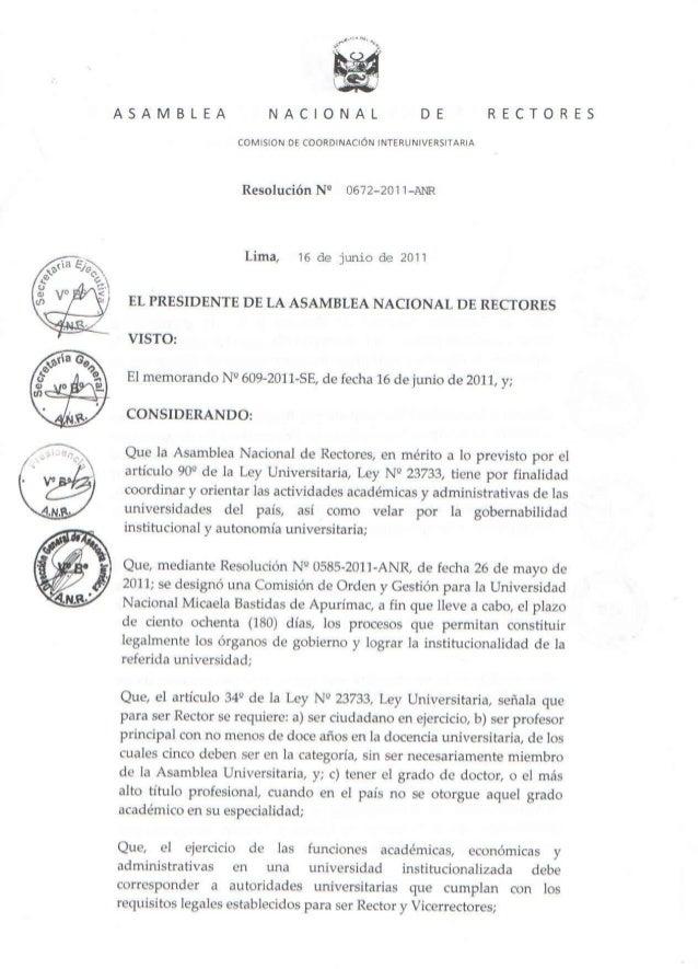 Resolución Nº 0672-2011 ANR – Nueva Comisión de Orden y Gestión en la UNAMBA