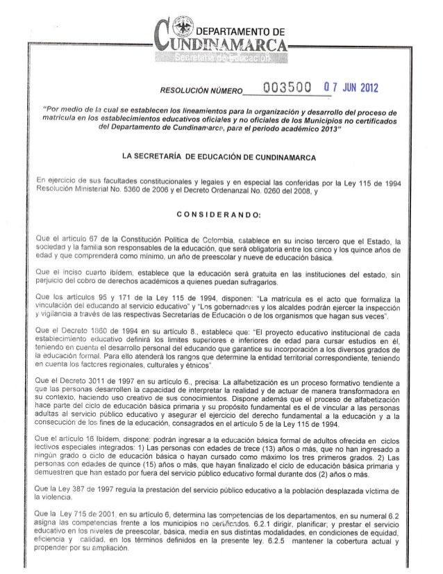 Resolucion   3500 Secretaria de Educacion Cundunamarca