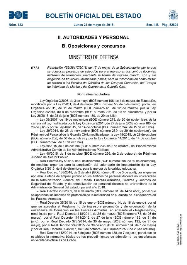 BOLETÍN OFICIAL DEL ESTADO Núm. 123 Lunes 21 de mayo de 2018 Sec. II.B. Pág. 52804 II. AUTORIDADES Y PERSONAL B. Oposici...