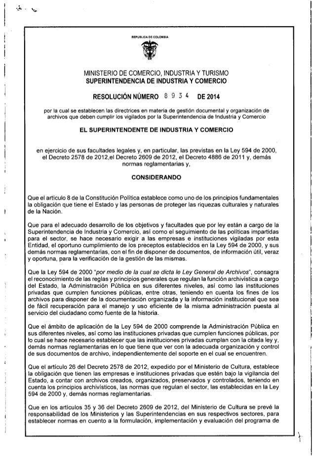 Resolucion 8934 de 2014.  Por la cual se establecen las directrices de Gestión Documental y Organización de Archivos  que ...