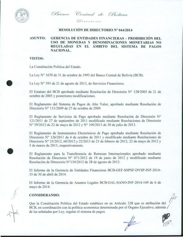 """e_.(1-1 / C&ei I //eed e •44eler, ...00 e•-• e- RESOLUCION DE DIRECTORIO N"""" 044/2014 ASUNTO: GERENCIA DE ENTIDADES FIN..."""