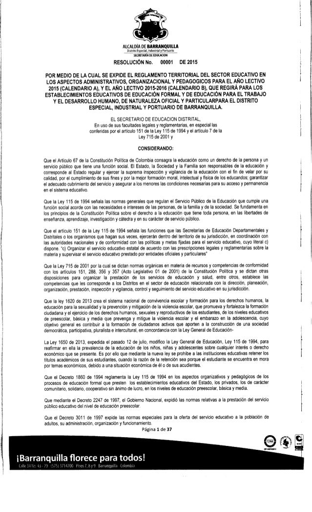 RESOLUCIÓN  00001 2015 SED BARRANQUILLA