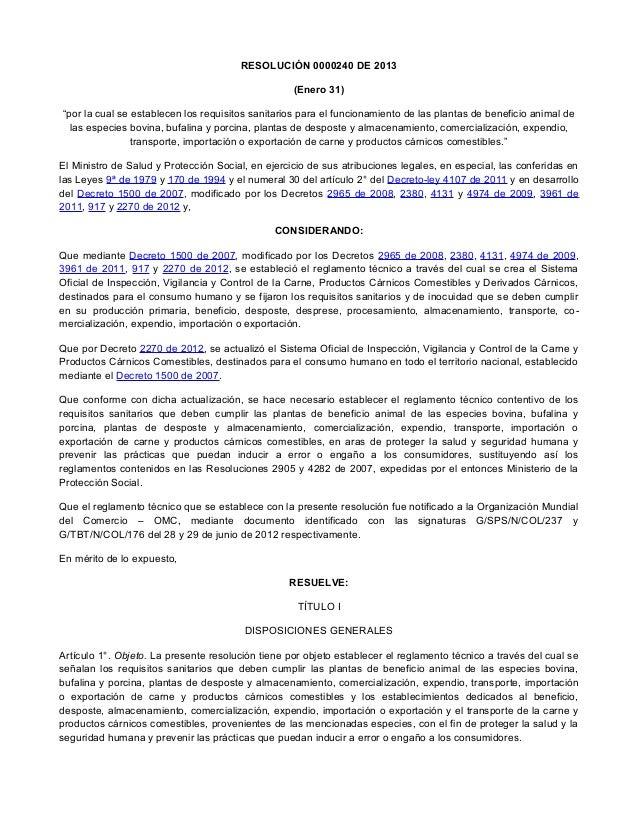 """RESOLUCIÓN 0000240 DE 2013 (Enero 31) """"por la cual se establecen los requisitos sanitarios para el funcionamiento de las p..."""