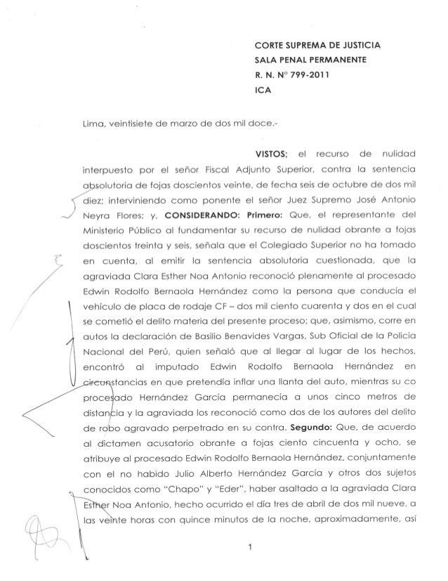 Resolucion 000799 2011 criterios para la absolución del procesado. r. n. nº 799-2011 – ica