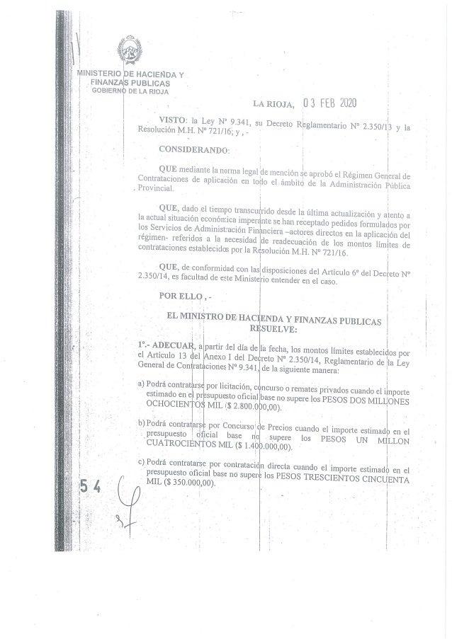 Resolución 54 del Ministerio de Hacienda de La Rioja