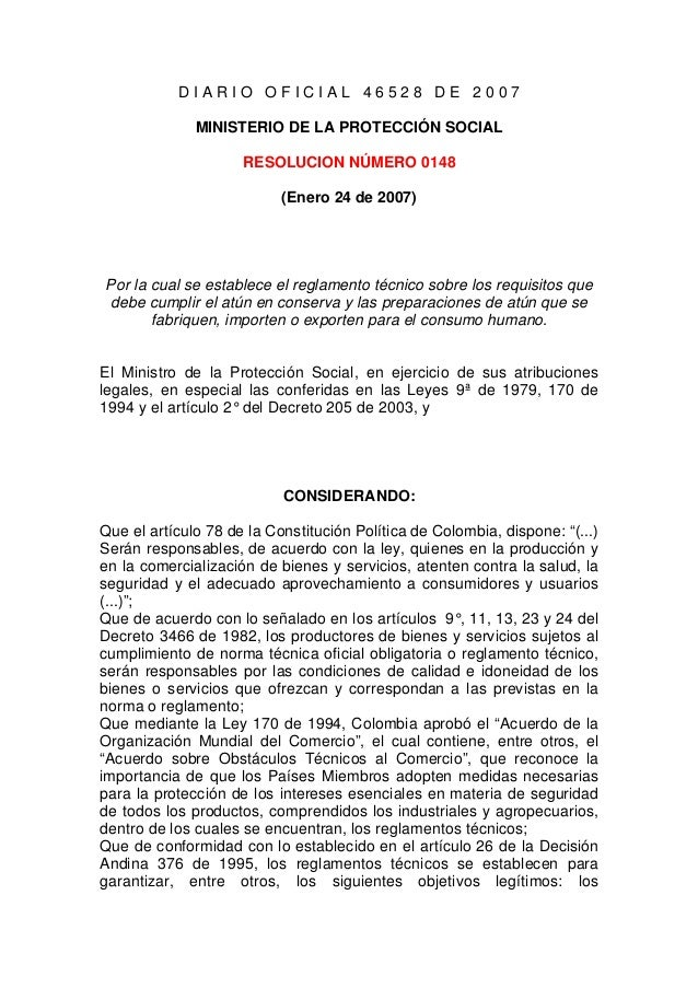 D I A R I O O F I C I A L 4 6 5 2 8 D E 2 0 0 7 MINISTERIO DE LA PROTECCIÓN SOCIAL RESOLUCION NÚMERO 0148 (Enero 24 de 200...