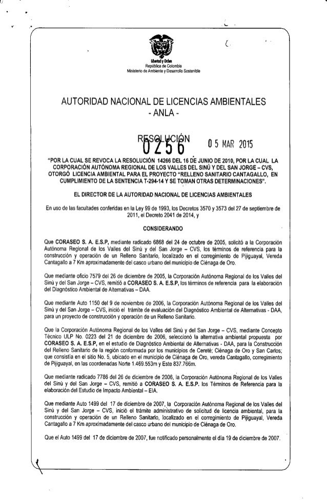 a sSydm República de Colombia Ministerio de Ambiente y Desarrollo Sostenible AUTORIDAD NACIONAL DE LICENCIAS AMBIENTALES R...
