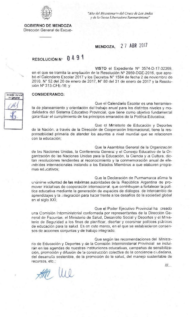 """!1/:- .:' ,) """") _,...."""" :9 """"Alio del Bicentenario del Cruce de Los Andes' ..>'_), .41., GOBIERNO DE MENDOZA Direcci6n Gene..."""