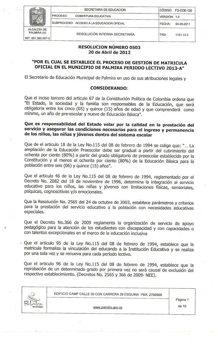 Resolucion 0503 20 abril de 2012  proceso de gestion de matricula 2013