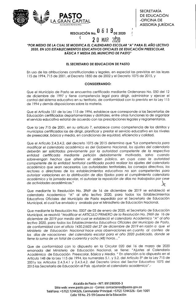PASTO GRAN CAPITAL ALCALDIA MUNICIPAL SECRETARIA DE EDUCACI�N -OFICINA DE ASESORIAJURIDICA RESOLUCION No. DE 2020 ( 20 MAR...