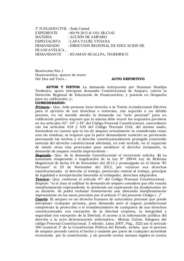 2° JUZGADO CIVIL - Sede Central EXPEDIENTE : 00159-2013-0-1101-JR-CI-02 MATERIA : ACCION DE AMPARO ESPECIALISTA : LAPA YAU...