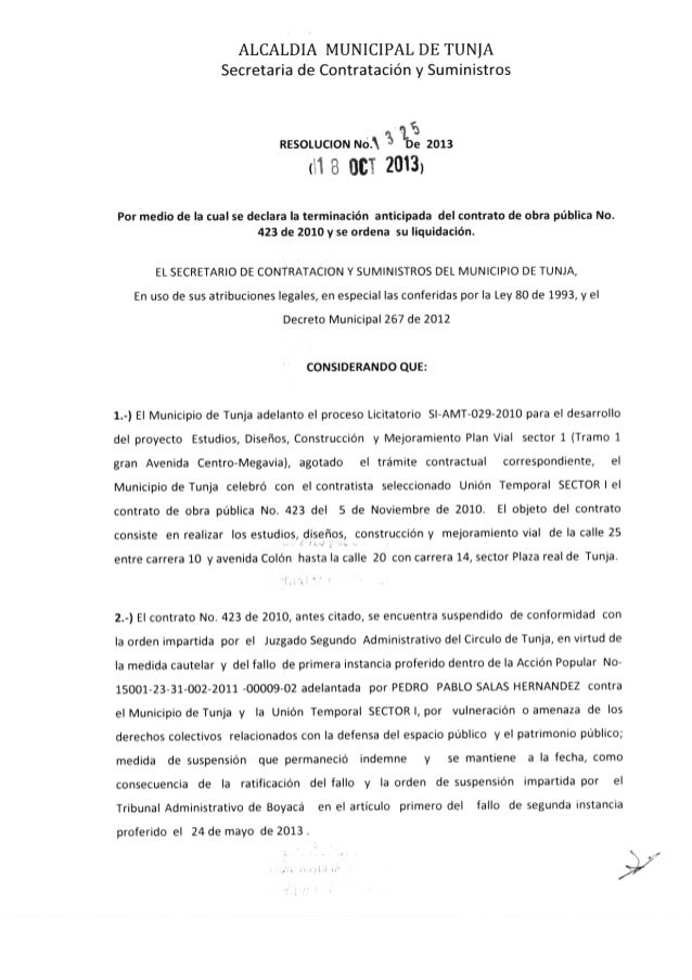 Resolución 1325 de 2013 -TERMINACIÓN CONTRATO MEGAVIA