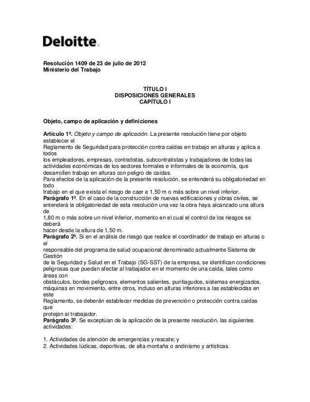 Resolución 1409 de 23 de julio de 2012Ministerio del Trabajo                                      TÍTULO I                ...