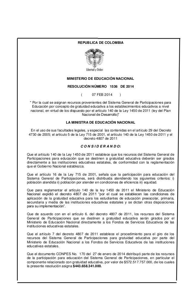 """REPUBLICA DE COLOMBIA  MINISTERIO DE EDUCACIÓN NACIONAL RESOLUCIÓN NÚMERO 1536 DE 2014 (  07 FEB 2014  )  """" Por la cual se..."""