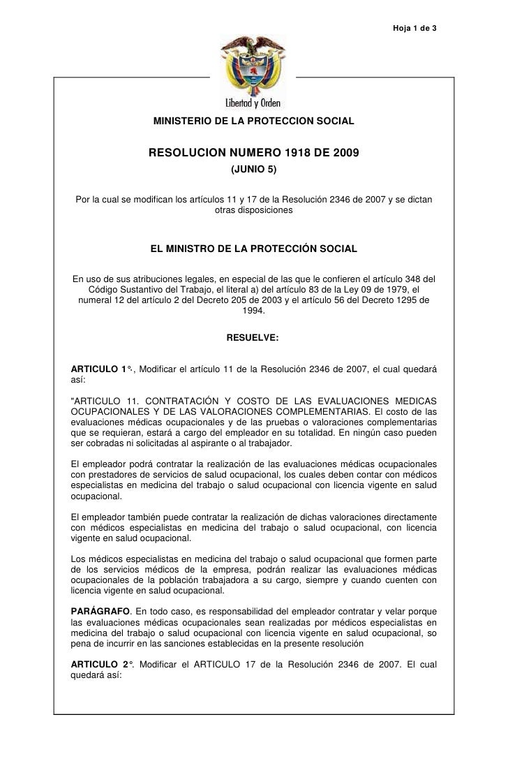 Hoja 1 de 3                         MINISTERIO DE LA PROTECCION SOCIAL                      RESOLUCION NUMERO 1918 DE 2009...