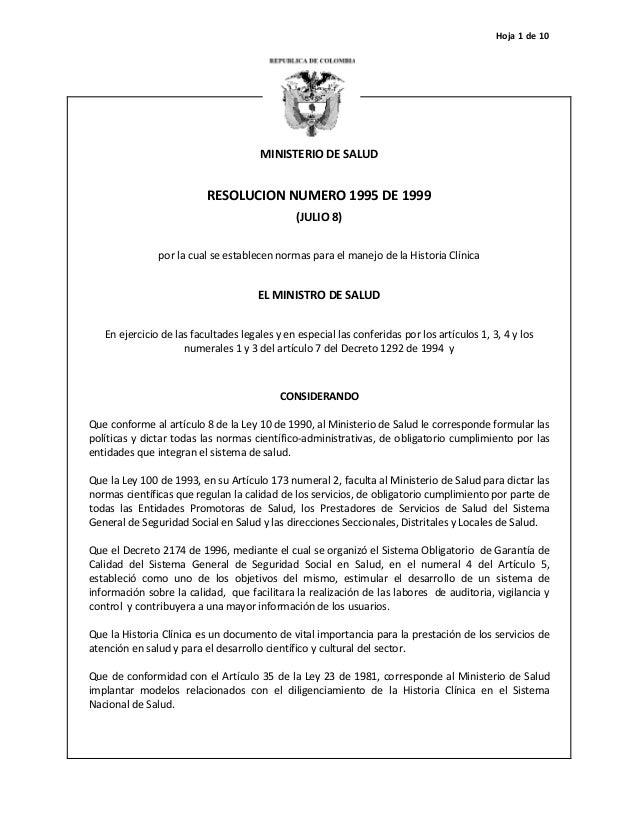 Hoja 1 de 10MINISTERIO DE SALUDRESOLUCION NUMERO 1995 DE 1999(JULIO 8)por la cual se establecen normas para el manejo de l...