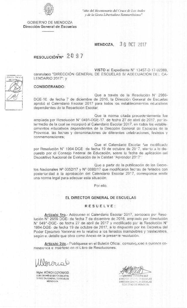 Mgter. MONICA CORONADO /SUBSECRETARIA OE 6ESTIA EOUCATIVA DIRECCION GENERAL DE ESCUELAS MENDOZA CORREAS ESCUELAS DIRECCION...