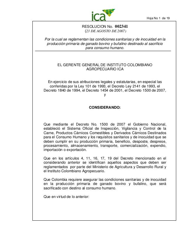 RESOLUCION No. 002341 (23 DE AGOSTO DE 2007) Por la cual se reglamentan las condiciones sanitarias y de inocuidad en la pr...