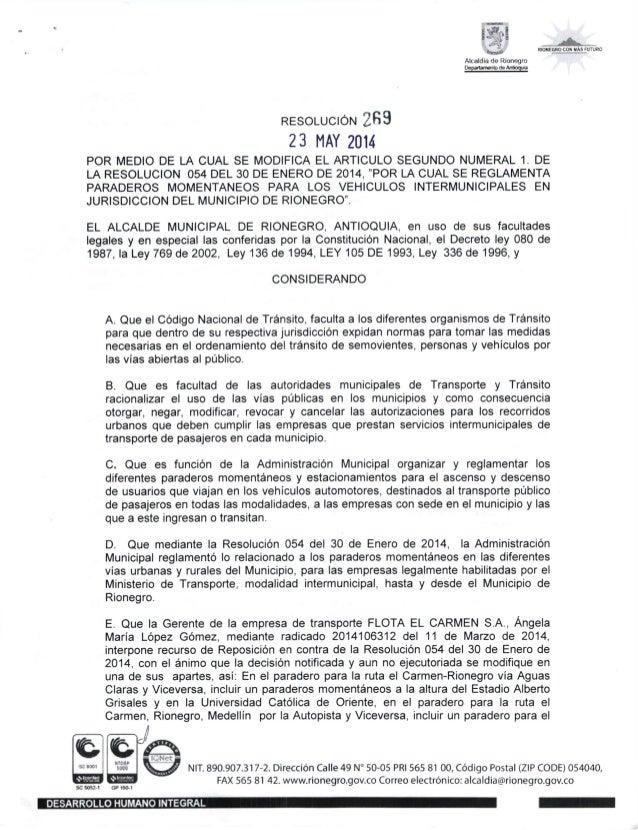 $F,,1c*._ ! ! Alcaldia de Rionegro Oep.tul6b de Adbqura RESoLUCIoN 2fi9 23 l,lAY 2014 POR MEDIO DE LA CUAL SE MODIFICA EL ...