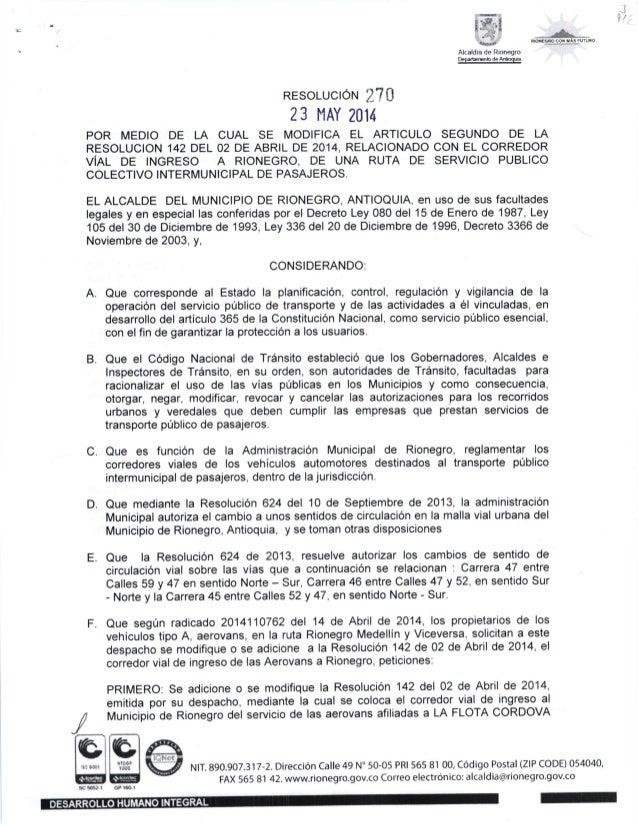 :ミilF: r→│ Alcaldia de RIonegro Depa饉 nlenO de Anloquo ヽ │ タノ 晶 お RESoLUCrorrr I ? [ 23 tlAY 2014 POR MEDIO DE LA CUAL SE ...