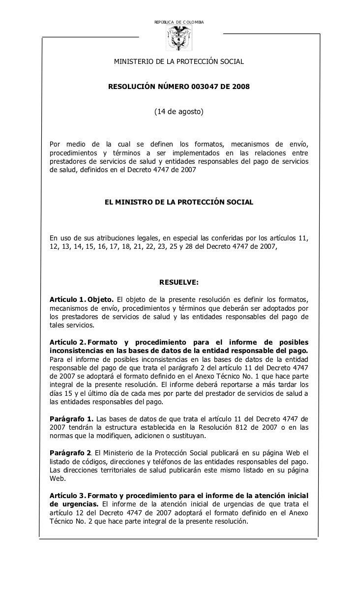 REPÚBLICA DE COLOMBIA                         MINISTERIO DE LA PROTECCIÓN SOCIAL                     RESOLUCIÓN NÚMERO 003...