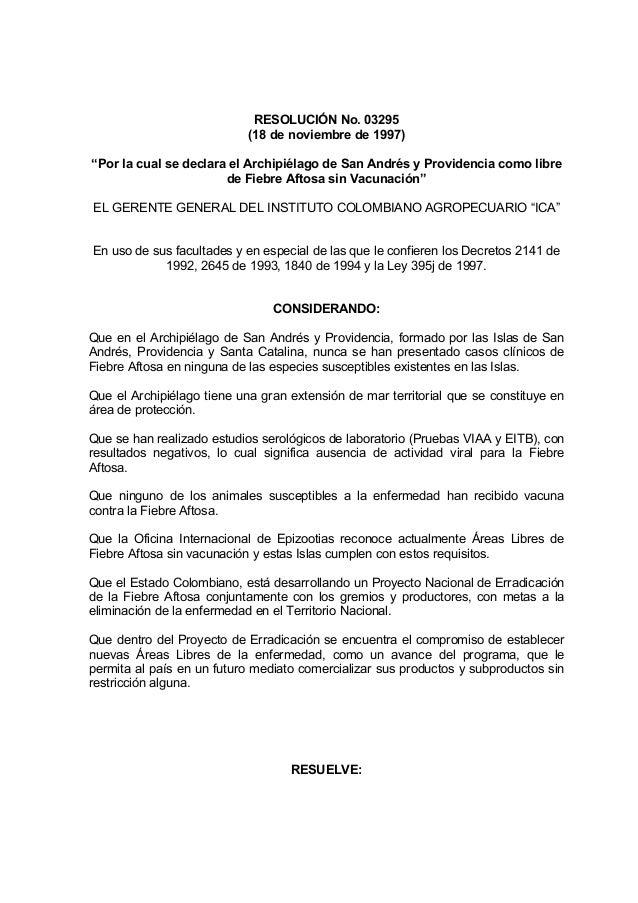 """RESOLUCIÓN No. 03295 (18 de noviembre de 1997) """"Por la cual se declara el Archipiélago de San Andrés y Providencia como li..."""
