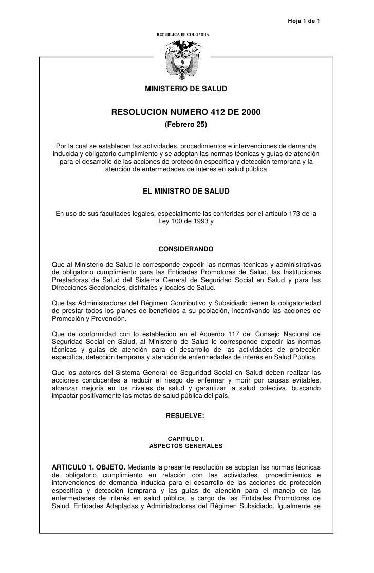 Hoja 1 de 1                               MINISTERIO DE SALUD                   RESOLUCION NUMERO 412 DE 2000             ...