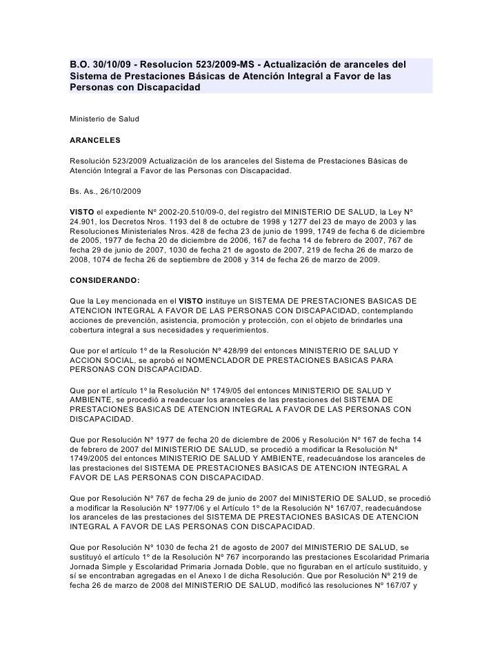 B.O. 30/10/09 - Resolucion 523/2009-MS - Actualización de aranceles del Sistema de Prestaciones Básicas de Atención Integr...