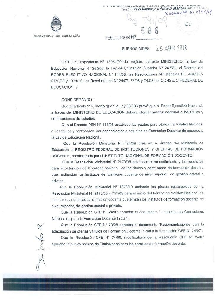 Resolucion 588 título validez nacional
