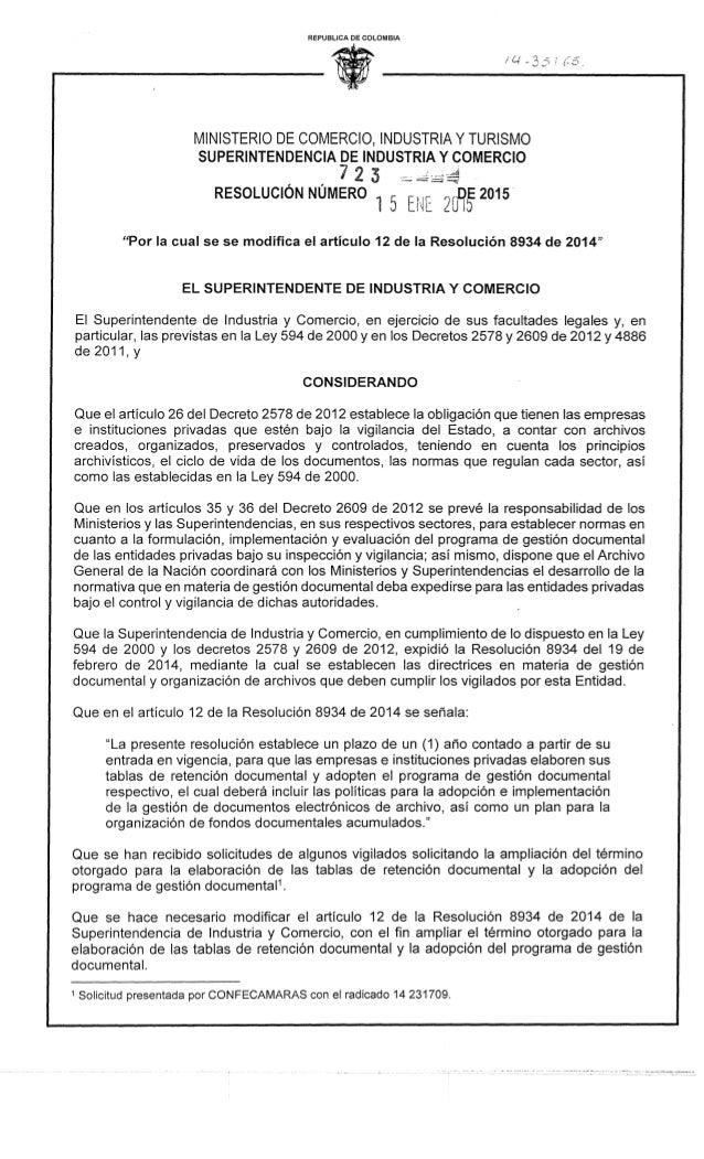 REPUBLICA DE COLOMBIA     MINISTERIO DE COMERCIO,  INDUSTRIA Y TURISMO SUPERINTENDENCIA DE INDUSTRIA Y COMERCIO  RESOLUCIÓ...