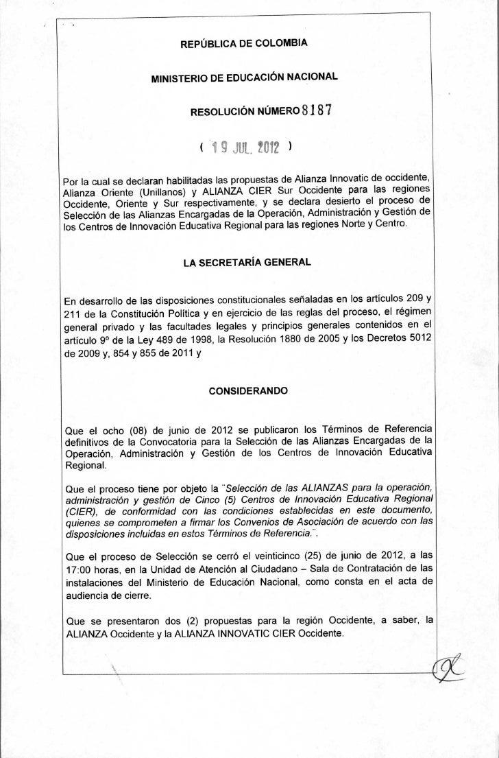 REPÚBLICA DE COLOMBIA                    MINISTERIO DE EDUCACIÓN NACIONAL                             RESOLUCIÓN NÚMERO   ...