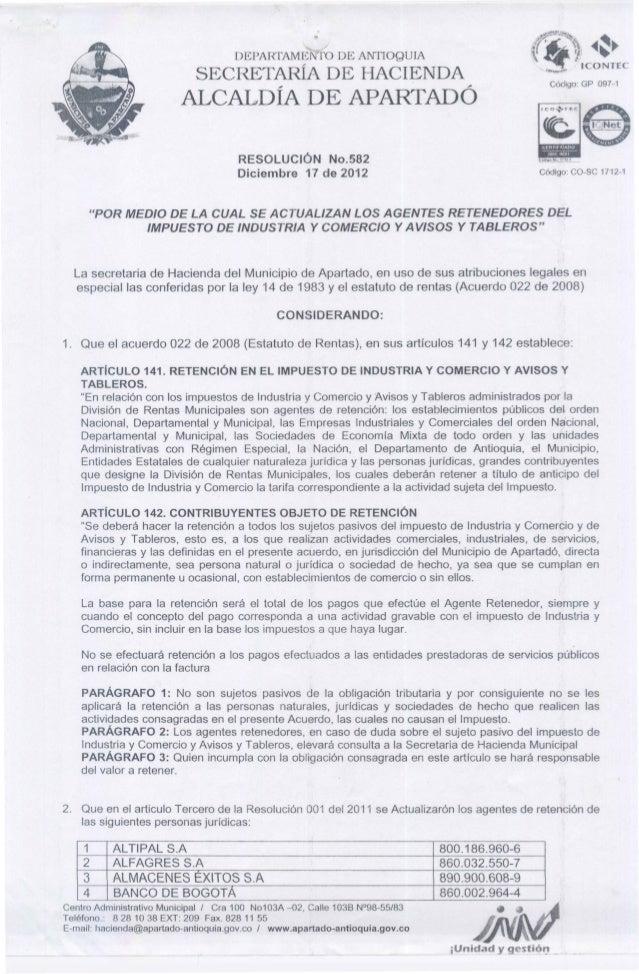 Resolucion agentes retenedores 2013