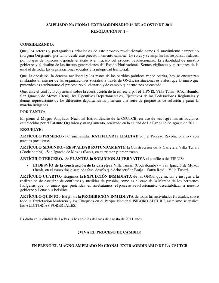 AMPLIADO NACIONAL EXTRAORDINARIO 16 DE AGOSTO DE 2011                                             RESOLUCIÓN Nº 1 –CONSIDE...