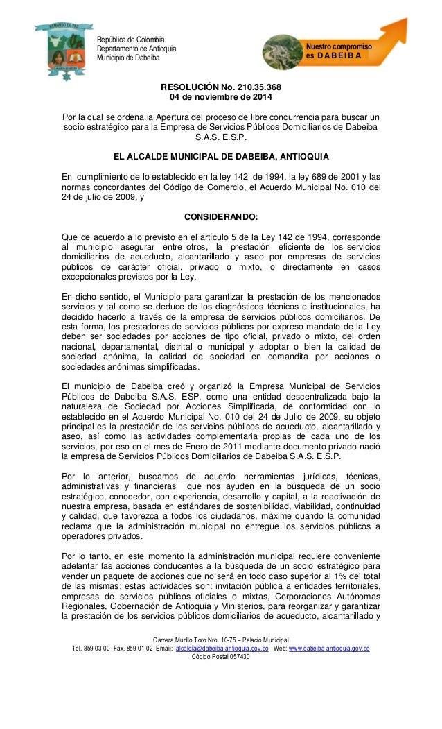 Carrera Murillo Toro Nro. 10-75 – Palacio Municipal  Tel. 859 03 00 Fax. 859 01 02 Email: alcaldía@dabeiba-antioquia.gov.c...