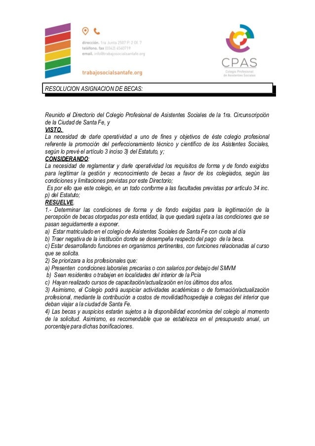 RESOLUCION ASIGNACION DE BECAS: Reunido el Directorio del Colegio Profesional de Asistentes Sociales de la 1ra. Circunscri...