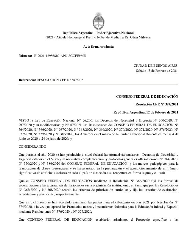 República Argentina - Poder Ejecutivo Nacional 2021 - Año de Homenaje al Premio Nobel de Medicina Dr. César Milstein Acta ...