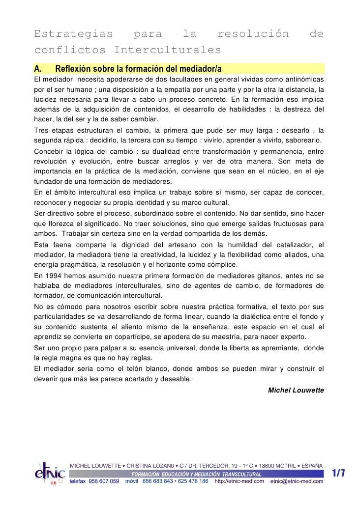 Estrategias   para   la  resolución                                                       deconflictos InterculturalesA.  ...